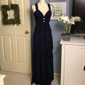 Betsy & Adam Navy Blue ruffle gown
